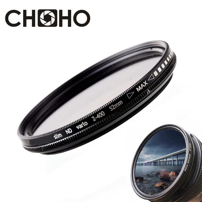 Fader ND Filter Neutral Density ND2 ke ND400 Vario Filtiros ND2-400 37mm 40.5mm 43mm 46mm 49mm untuk Canon Nikon