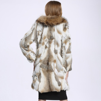 2016 Autumn and Winter Raccoon Fur Collar Rabbit Fur Coat Women's Long Fur Outwear BE-1645 Free Shipping 5