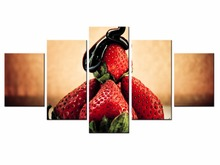 5 Panel Modern Printed Food poster strawberry serie Painting Picture Canvas Art for Living Room No Frame /still life-41