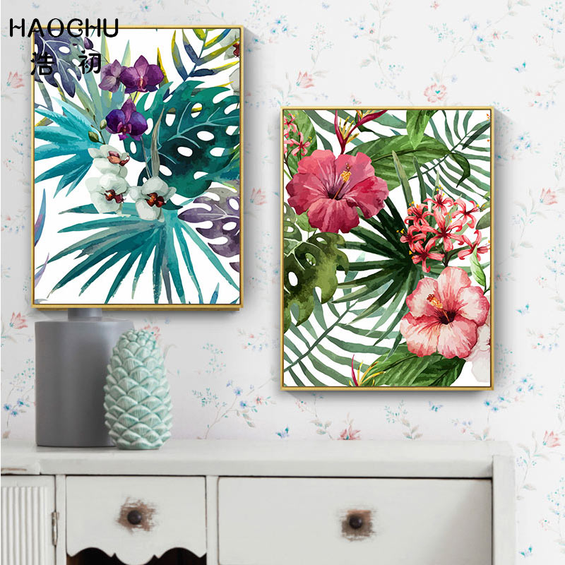 Image 2 - HAOCHU Tropical Forest Flower Leaves Watercolor Plant Flamingo Art Poster Print Picture Wall Decor Canvas Painting Home Decor-in Painting & Calligraphy from Home & Garden