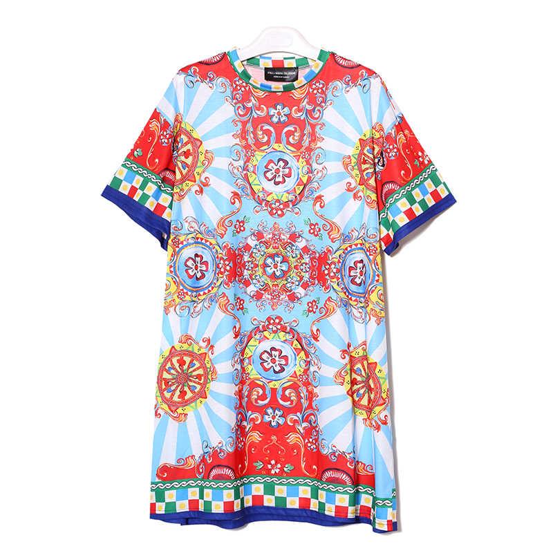 2020 yaz kadın siyah mavi çiçek baskılı plaj elbise artı boyutu bayanlar sevimli düz Sundress Midi rahat güneş elbise Robe 2162