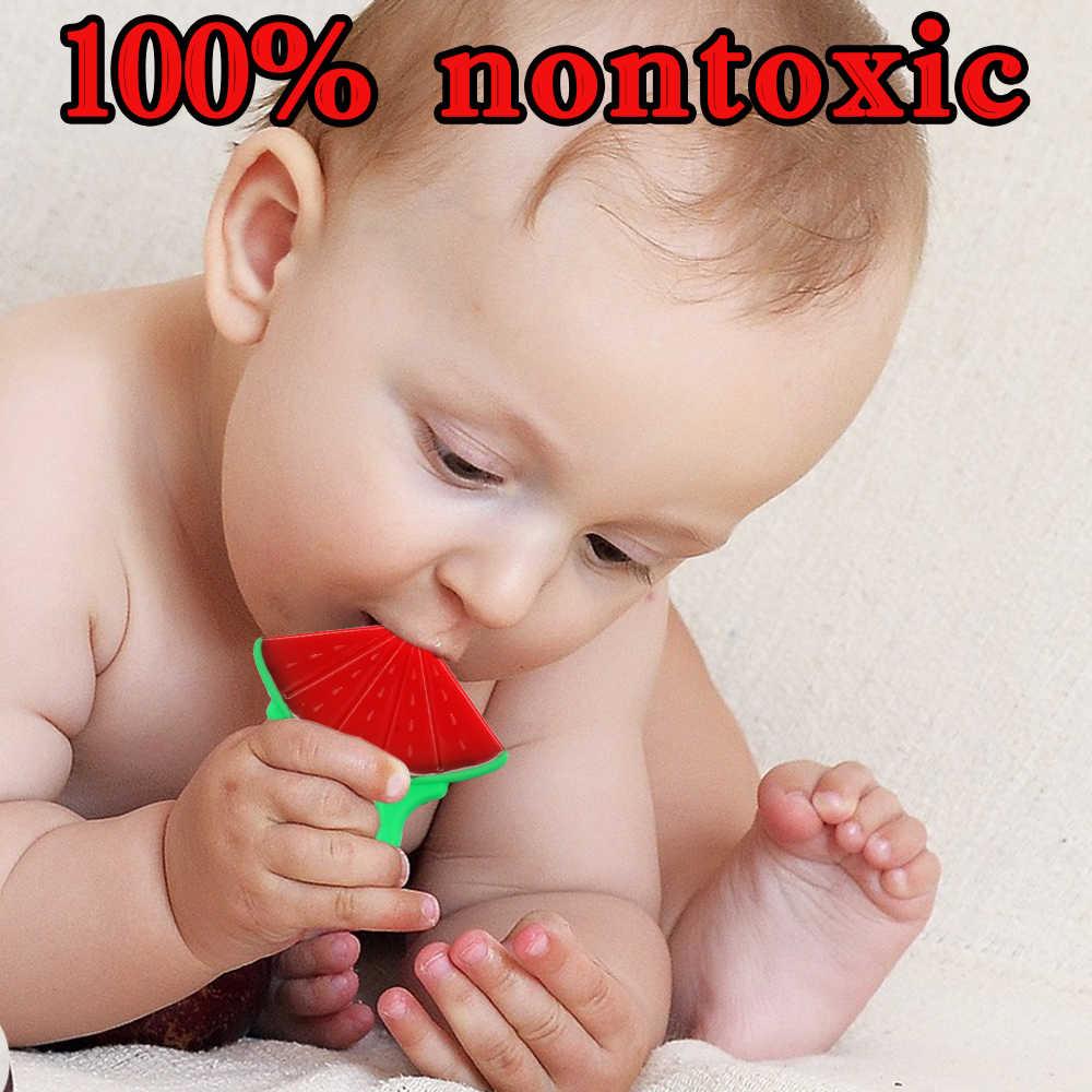 1 piezas 100% no tóxico de silicona juguete mordedor para 4 M + bebé recién nacido Infantil cuidado Dental de formación herramienta fruta Banana sandía