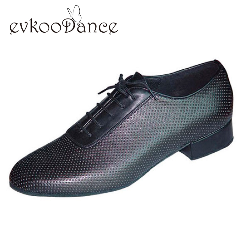 Comfortable Heel Height 2.5cm Size US 4.5-13.5 Black Leather Professional Low Heel Ballroom Dance Shoes For Boys MB005