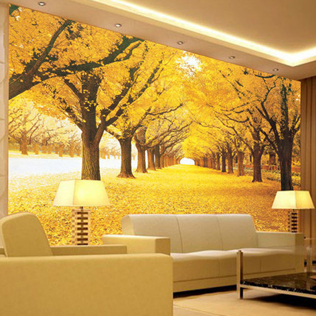 Custom Wall Mural Wallpaper Landscape Natural Autumn Scenery Yellow Forests Load Covered Leaves Paper