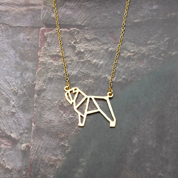 Wholesale Gold Silver Color Bouvier Des Flandres Necklace Women Origami Statement Necklace Dog Memorial Kolye Cs Go Collares