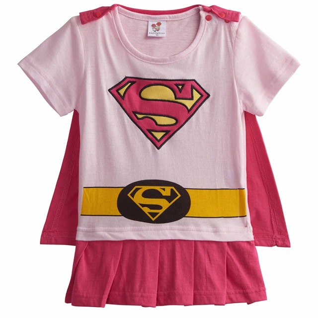 Bébé Fille Wonder Woman Costume Barboteuses avec Cape Nouveau-Né Robin Fille Batgirl Supergirl Combinaisons Infantile Parti Fantaisie Robes