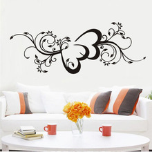 Double Heart Flowers Wall Decals Vinyl Beautiful Wall Sticker Art Mural For Living Room Girls Home Decor House Decoration