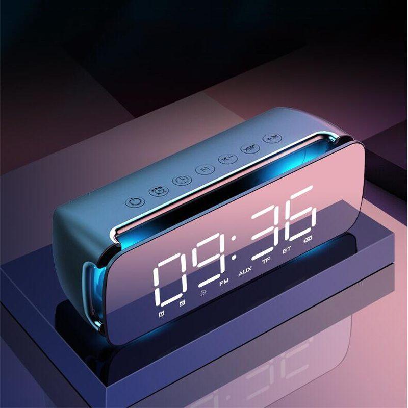 LEORY T68 Dual Loudspeaker Subwoofer LED Wireless bluetooth Speaker Alarm Clock FM Radio Speaker Color Screen