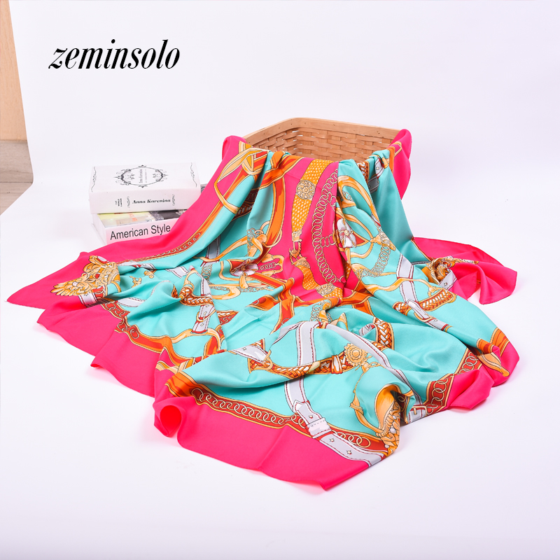 Women Bandana Hijab Silk Scarf Shawl Spring Autumn Female Square Silk Scarves For Women Printed Shawls Beach Cover-ups 130*130cm