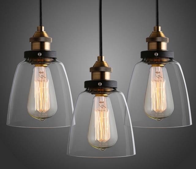 Vintage Pendant Lights Gl Led Suspension Luminaire Loft Retro E27 Lamp Lamparas Colgantes Home Lighting