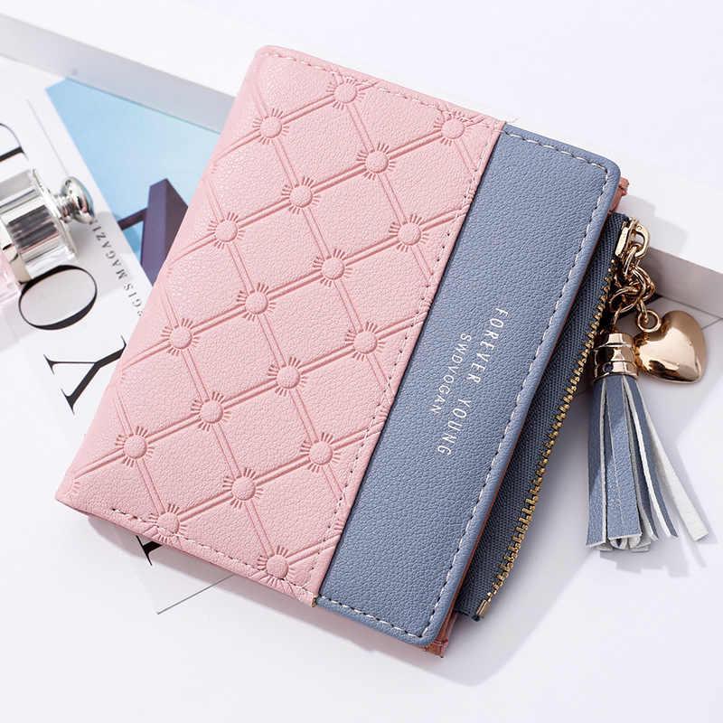 Moda miyahouse krótki damski portfel świeży styl serce zipper Sequined torebka damska Tassel kasetony kobiety portfel