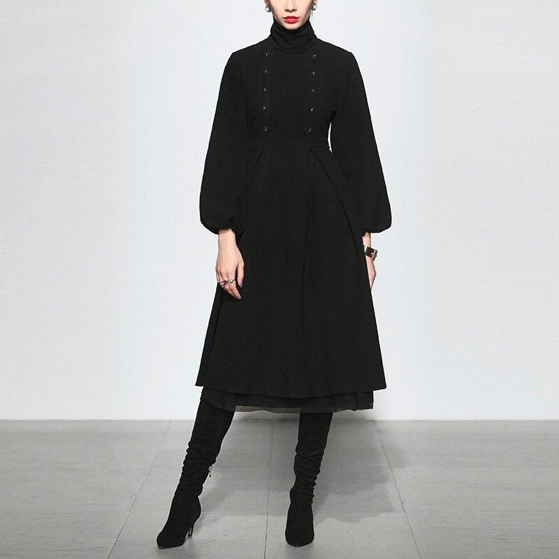 2018 новая элегантность и темперамент стенд воротник длинный Фонарь рукава большой маятник черное платье до середины икры Женское шерстяное