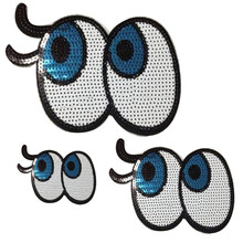 Iron on patches for clothing T shirt Women 15cm Cartoon Eyes Sequined  Sequins T-shirt Womens Fashion Tops Shirt Patch Clothes 6fec4ffff295