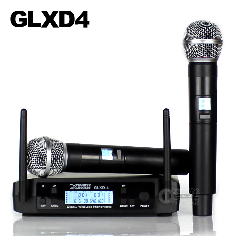 GLXD24 GLXD4 Professional UHF Wireless Microphone System Beta58a Handheld Mic Dual Channels Cordless Digital Receiver For Church(China)