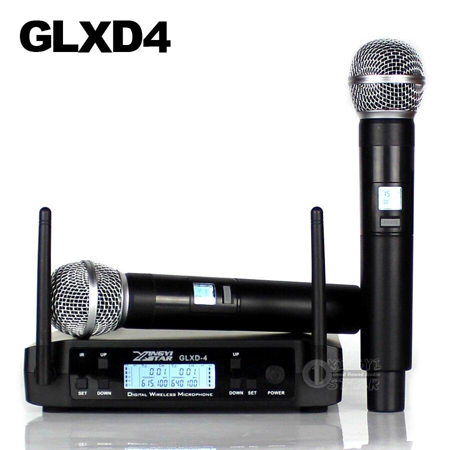 GLXD24 GLXD4 Professionnel UHF Sans Fil Microphone Système Beta58a De Poche Mic Double Canaux Sans Fil Numérique Récepteur Pour L'église