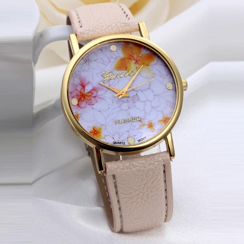 Excellent Quality Women Watch 2016 New Flower Patterns Leather Watches Lady Girl Dress Relogio Analog Quartz Vogue Wrist Watches