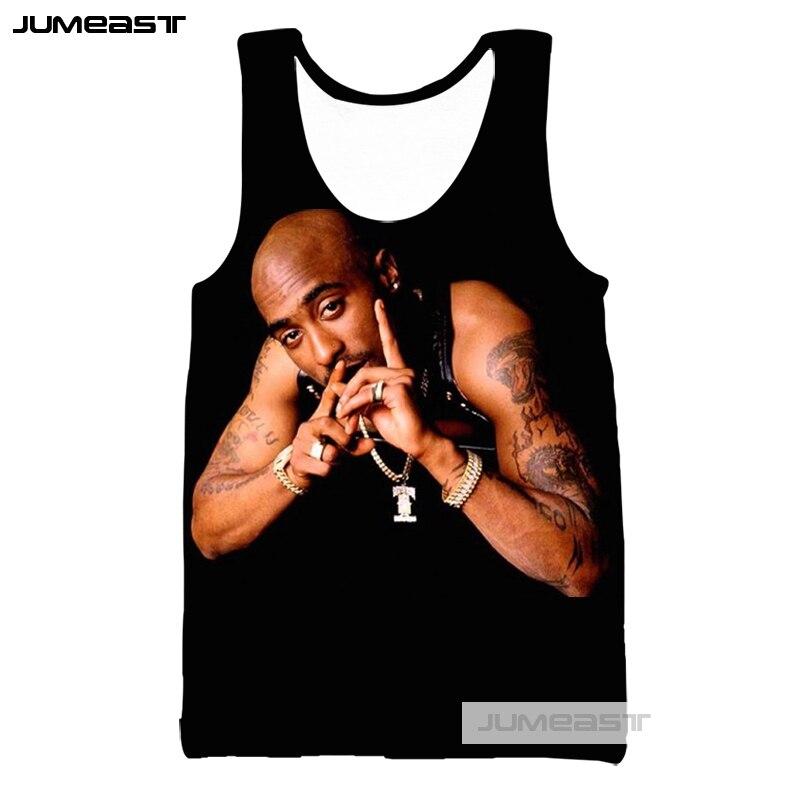 Jumeast 3d Printed Men/Women   Tank     Tops   Rapper 2pac Tee Sleeveless Unisex Hip Hop Streetwear Vests American Singer Tupac