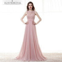 Elnorbridal Real Photo Dusty Pink Formal Evening Gowns Dresses 2018 Open Back Sheer Vestido Festa Longo Prom Dress Floor Length