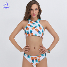 Cropped High Neck Pineapple Printing Bikini Set 2018 Sexy Women Beach Wear Swimsuit Cheap Triangle Swimwear Female Retro Biquine
