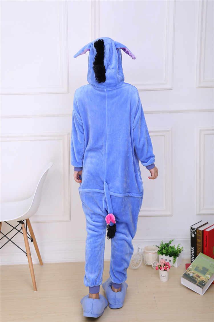 ... Кигуруми новый унисекс Ослик ИА-ИА Onesie пижамы косплэй костюм  животных Фланелевая Пижама для взрослых ... 97d6677b4beb8