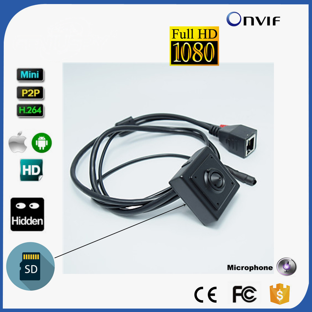 Square Small Covert HD 1080P Audio&Video IP Camera Mini Wlan SD TF Card With AUDIO Network P2P Onvif 2.0 CCTV System