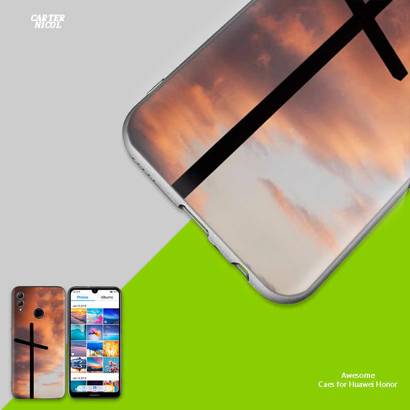Christian Cross Design Silicone Case Cover for Huawei Honor 8X 8C 8A 8S 10 10i Lite Play V20 Y9 Y7 Y6 Y5 Prime 2018 2019