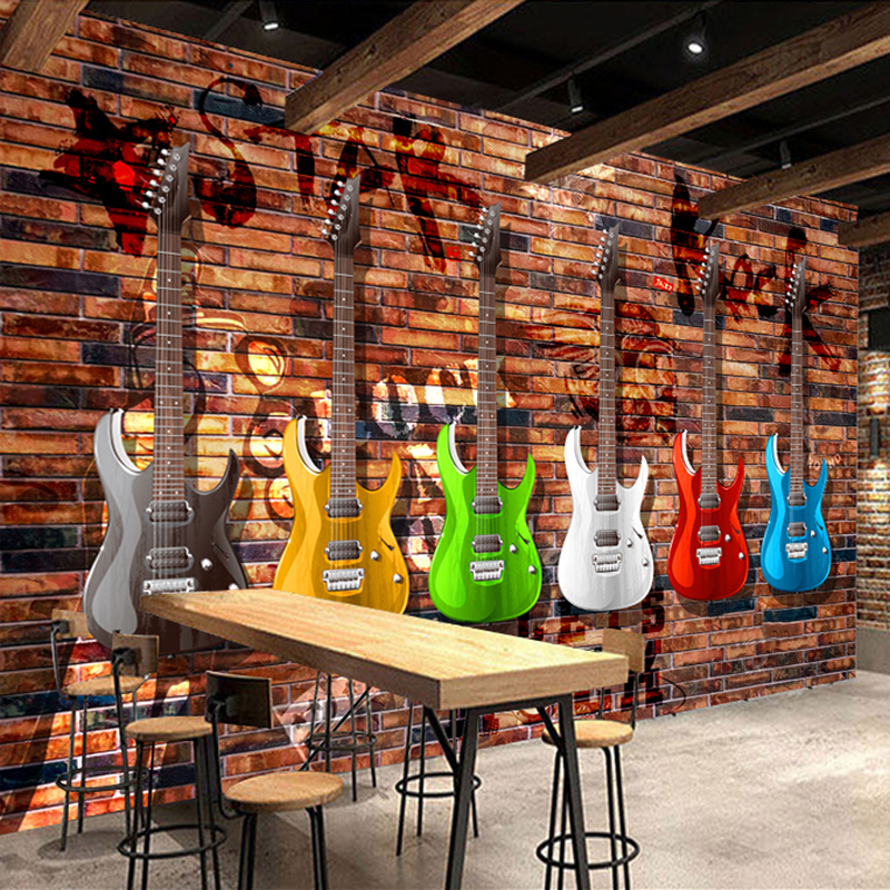 Custom 3D Photo Wallpaper Retro Electric Guitar Brick Wall Bar KTV Mural Background Modern Art Wall Painting Wall Paper Rolls custom photo wallpaper 3d retro wheel imitation brick wall wallpaper mural bar restaurant lounge hotel wallpaper