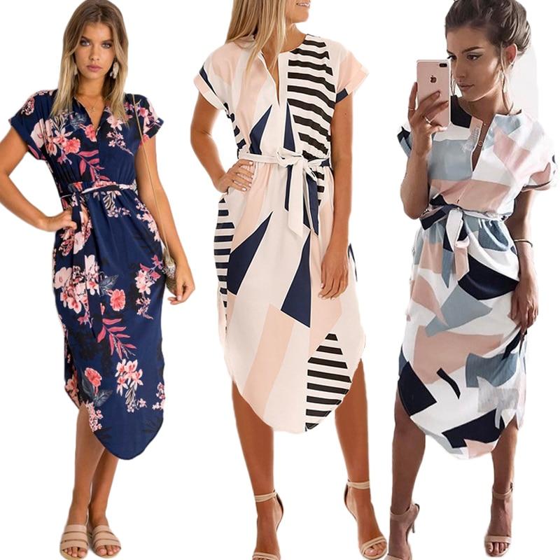 Elegant Asymmetrical Boho Dresses Women Dress Summer 2019 Bohemian Dress Midi Sundress Female Plus Size Casual Floral Vestidos