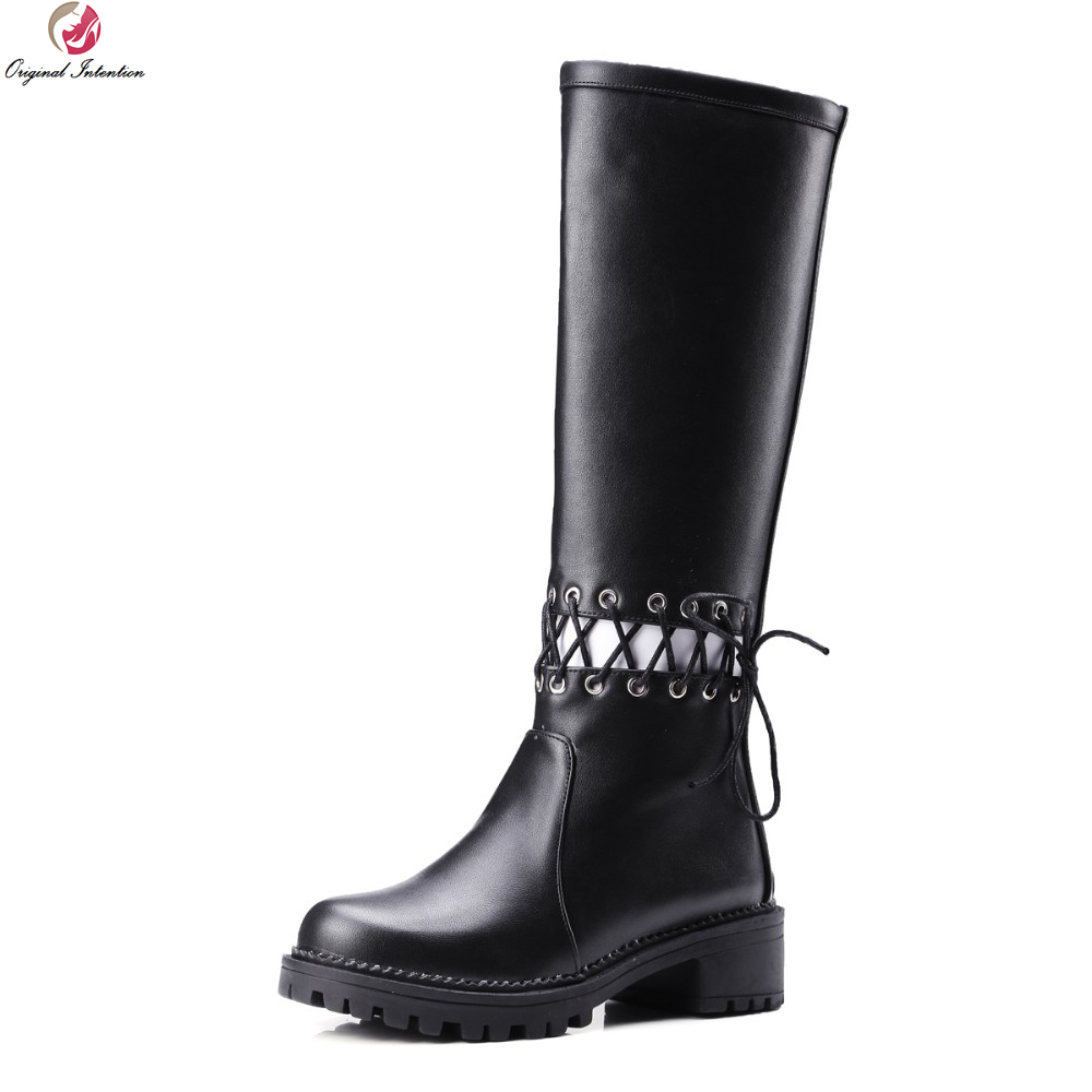 Original Intention Women Knee High Boots Round Toe Square Heels Winter Boots Fashion Black White Red Shoes Woman US Size 4-10.5 winter boots women black breathable comfortable round toe warm velvet high heeled shoes knee high red boot 44 43 plus large size