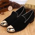 Luxo mens mocassins sapatos fumadores ouro metálico fresco mens fundo vermelho vestido sapatos mens mocassim chinelos prom sapatos solas de borracha