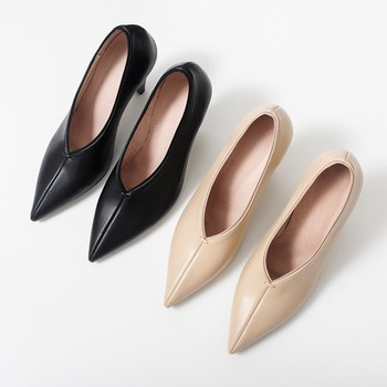 MLJUESE 2018 women pumps cow leather autumn spring slip on  pointed toe  high heels pumps autumn pumps party dress wedding
