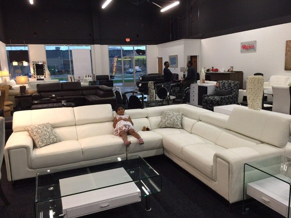Galleria fotografica 8035 prezzo di Fabbrica di Alta qualità top grain vera pelle divano componibile L forma divano del soggiorno con funzionale poggiatesta
