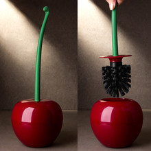 Creative Lovely Cherry Shape Lavatory Brush Toilet Brush & Holder Set (Red)(China)