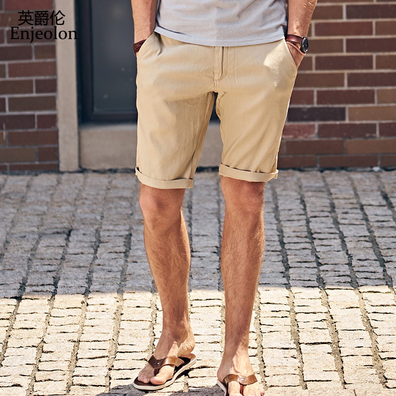86 brand top tops Summer New Casual Shorts Men Linen Sim solid black khaki Available Knee length High Quality