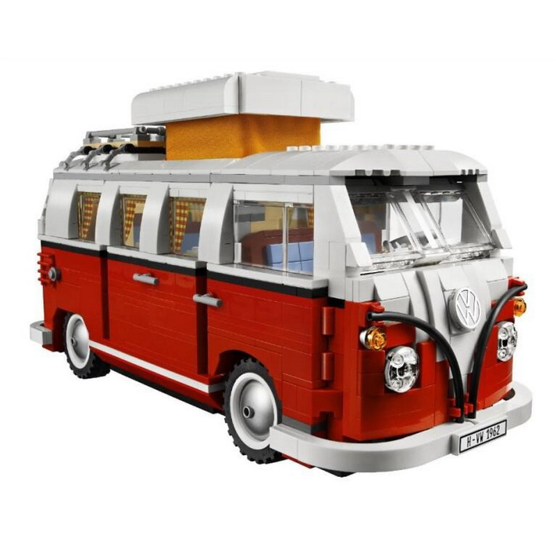 21001 LEPIN Creator Volkswagen T1 Camper Van Model Building Blocks Classic Enlighten Figure Toys For Children Compatible Legoe decool 3114 city creator 3in1 vehicle transporter building block 264pcs diy educational toys for children compatible legoe