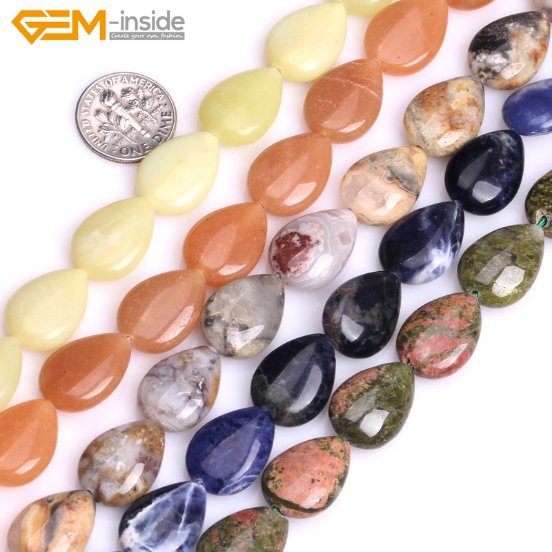 Gem-inside Natural Flat Drop Teardrop Drip Stone Beads For Jewelry Making 13X18mm 15inches DIY Jewellery Selectable Material 210pcs lot 10 14mm pear drop crystal fancy stone point back teardrop droplet glass stone for jewelry making diy accessory