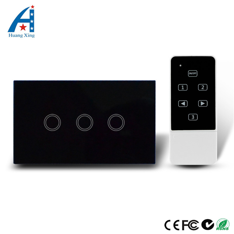 HUANGXING US/AU Standard 3Gang Capacitive Touch Glass Black Panel, Wireless Electrical Light Switch, With Remote Control RF433Mh 2017 smart home us au standard wireless remote control touch light switch wall switch 3 gang black crystal glass panel with led