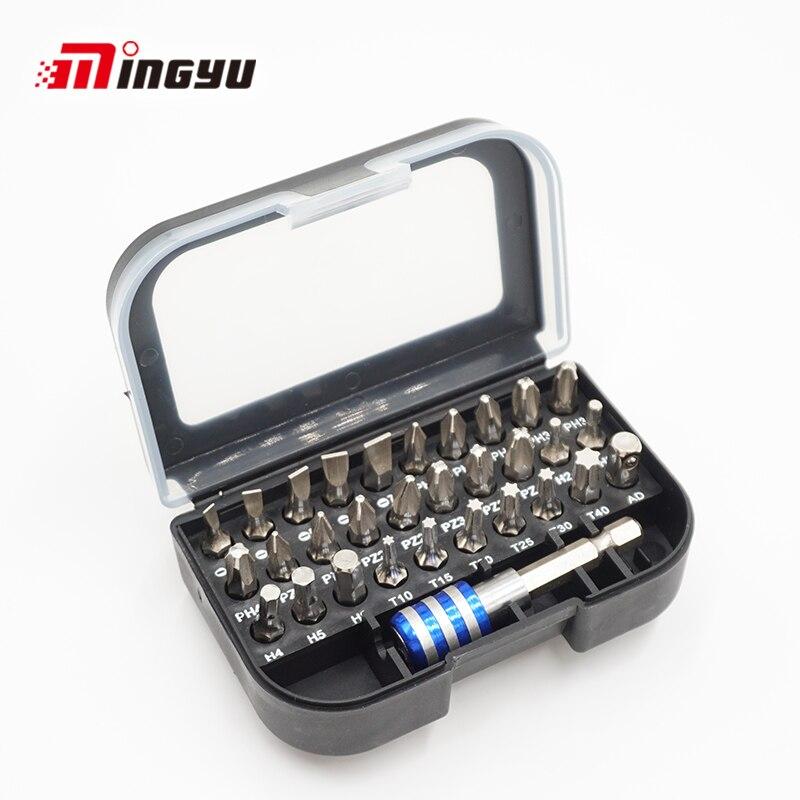 Conjunto comum 1/4 tor25 25mm torx entalhado do bocado da chave de fenda de 31 pces encanta o bocado do motorista do parafuso de phillips com um adaptador magnético da pata da extensão