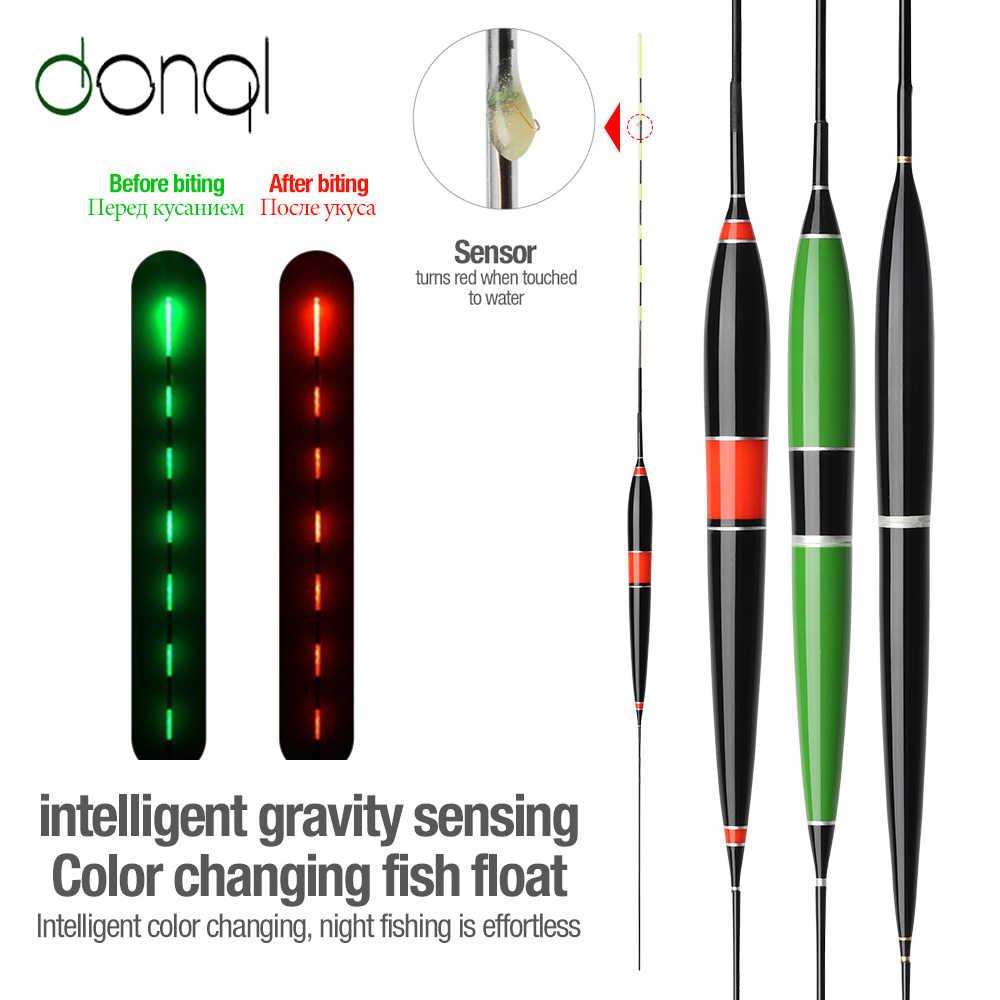 DONQL Smart Fishing Led lekki pływak Luminous świecące Float Fish Bite automatycznie przypominają elektryczną boję rybacką z bateriami