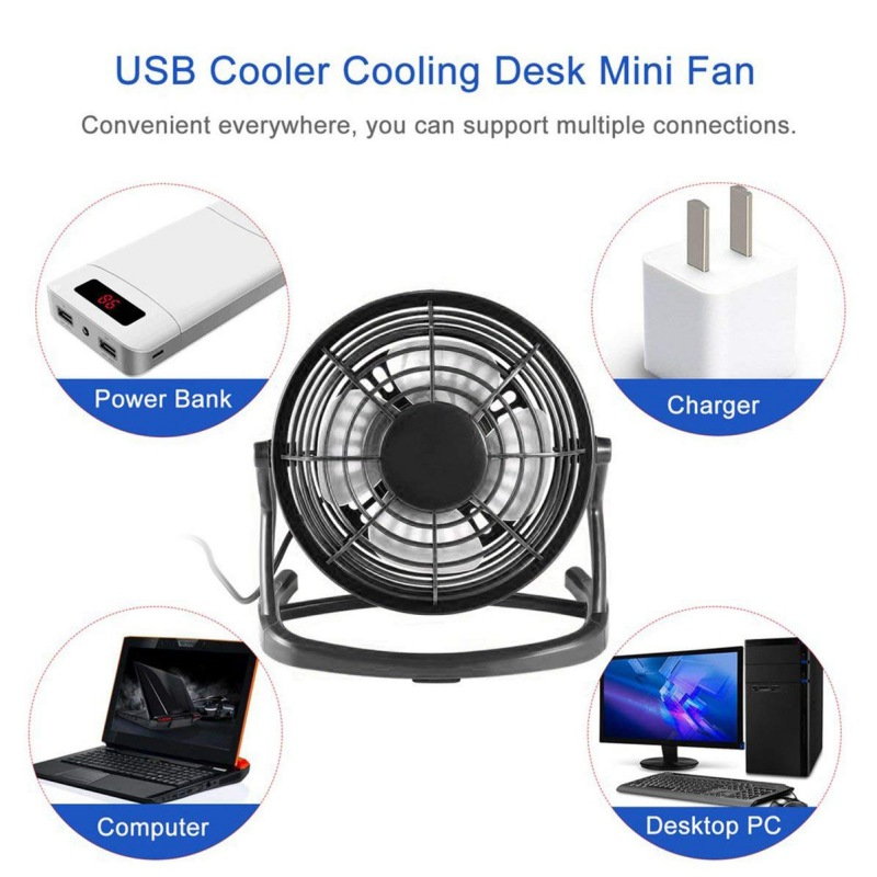 4 Inch Portable USB Desk Fan Single Gear Speed Lower Noise 360 Degree Up And Down Rotating Free Adjustment Personal Fan For Home