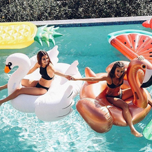 купить Inflatable Swimming Pool Float Summer Lake Beach Giant Ride on White Swan Swimming Lounge Rose Gold Flamingo Lifebuoy Toys Raft по цене 2309.27 рублей