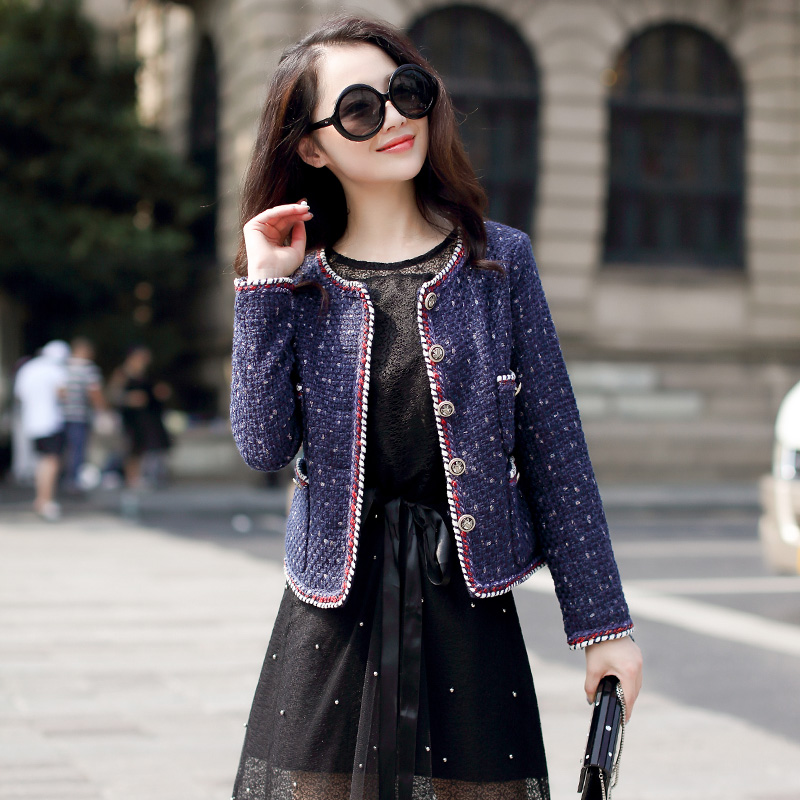 Navy blue tweed jacket spring / autumn /winter women's jacket coat classic ladies wild ladies bright wire braided tweed jacket