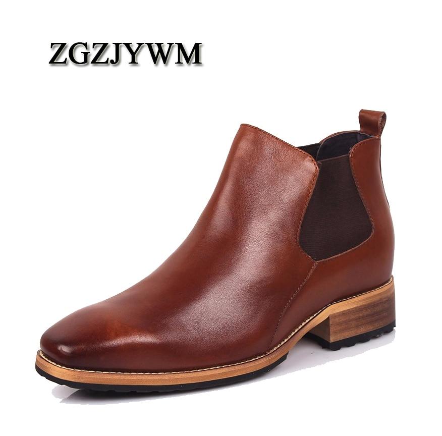 Herrenstiefel Streng Zgzjywm Männer Unsichtbare 8 Cm Aufzug Spitz Slip-on Echtem Leder Geschäfts Formal Der Trend Von Schwarz Leder Schuhe Aromatischer Geschmack Schuhe