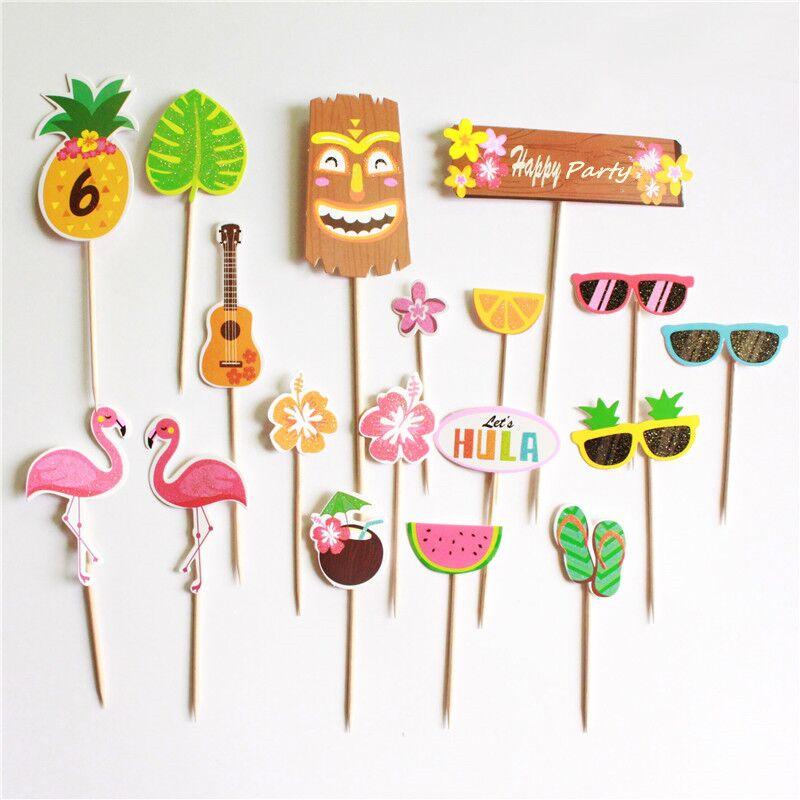18 шт./компл. фламинго, арбуз, фотозубочистка, украшение для торта, гавайская вечевечерние, фламинго, фотография для вечевечерние