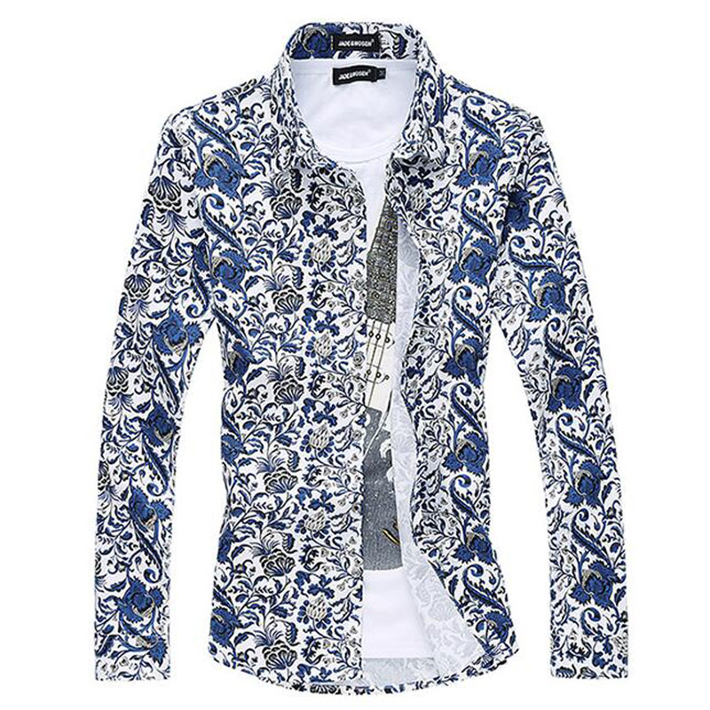 6XL Printed Blouse Men Designs Casual Chemise Homme Floral Dress Shirts Fashion Slim Blusa Masculina Brand