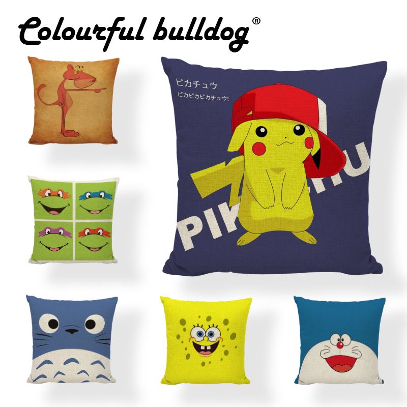Cuteness Character Style Cushion Cover Black Cat Crazy Cat Lady Totoro Pikachu Doraemon 17 Inch Square Home Ca Decor Pillowcase
