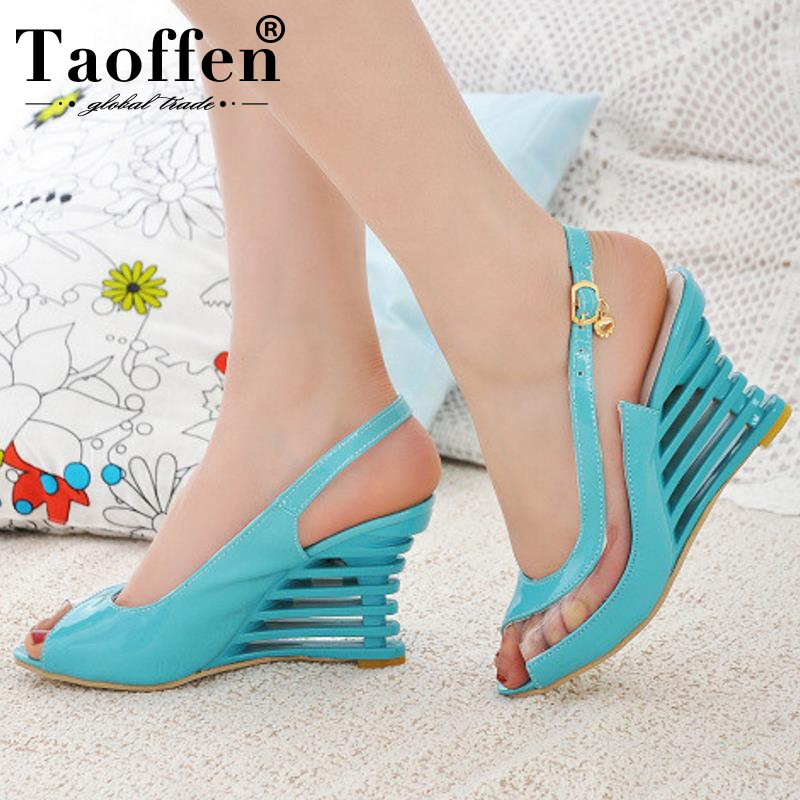 Taoffen 2019 New Women Heel Sandals Buckle Open Toe High Wedge Shoes Womens Summer Shoes Sexy Women Shoes Footwear Size 34-43Taoffen 2019 New Women Heel Sandals Buckle Open Toe High Wedge Shoes Womens Summer Shoes Sexy Women Shoes Footwear Size 34-43
