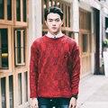 Осень корейский тёплый simple с круглым вырезом хеджирования вязание свитера мужчины свободного покроя приталенный красный вязание свитера для мужчины, M-xl