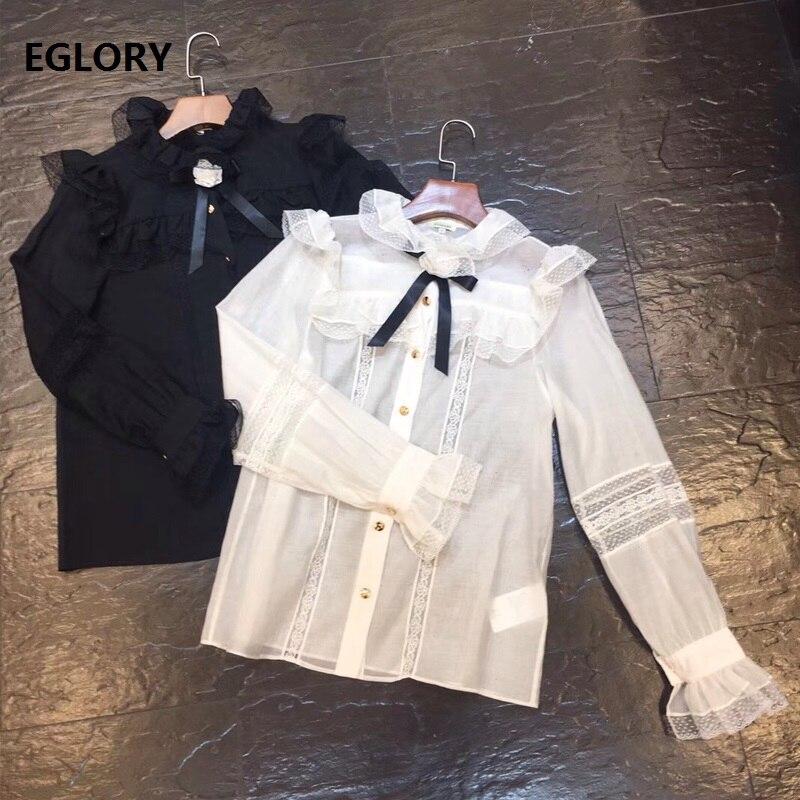 2018 mode Blouse chemise femmes dentelle Patchwork Appliques fleur à manches longues noir blanc chemise dames Sexy soie coton chemises