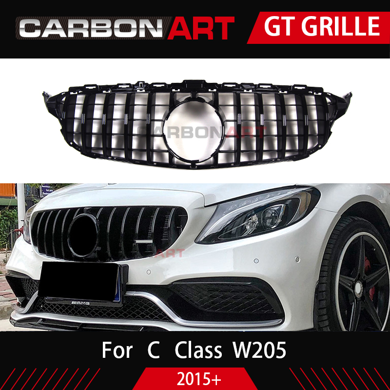 Image 3 - Carbonart C Class W205 GT Front Bumper Mesh Grill Grille Fit for mercedes W205 C200 C300 Sports No/with Camera hole-in Racing Grills from Automobiles & Motorcycles